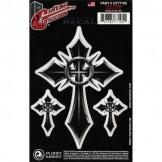 Planet Waves Guitar Tattoo, Grey Cross