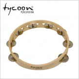 Tycoon Single Row Wooden Tambourine - Bright Steel