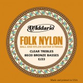 EJ33 Folk Nylon, Ball End, 80/20 Bronze/Clear Nylon Trebles