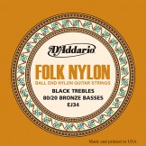 EJ34 Folk Nylon, Ball End, 80/20 Bronze/Black Nylon Trebles